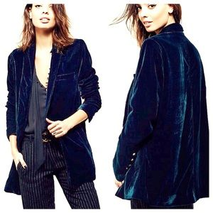 Free People Yesterday's Muse Velvet Blazer XS